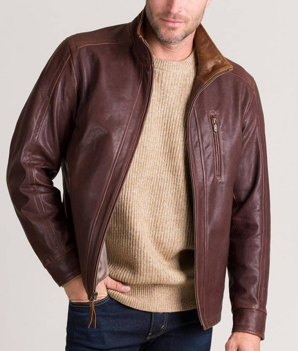 Mens Casual Brown Slimfit Leather Jacket
