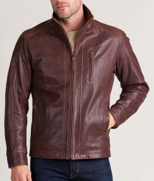 Randall Mens Casual Slimfit Leather Jacket
