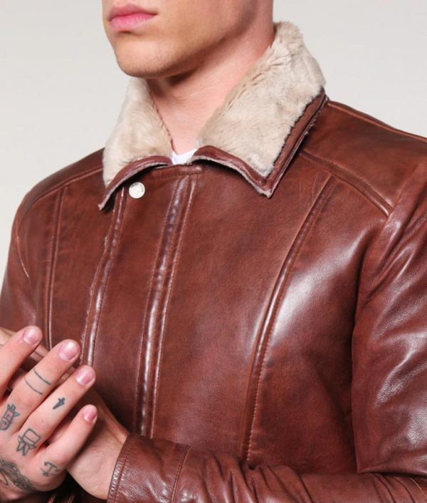 Mens Turn Down Collar Dark Cognac Leather Jacket