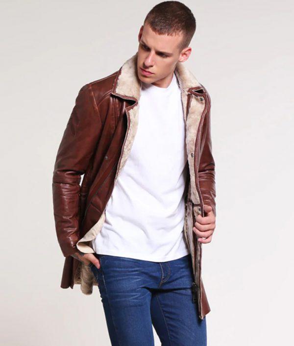 Richard Mens Turn Down Collar Leather Jacket