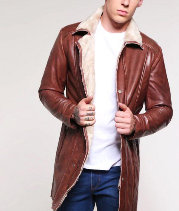 Richard Mens Turn Down Collar Dark Cognac Jacket
