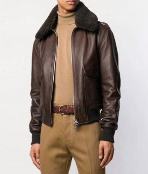 Mens Causal Shearling Fur Collar Style Brown Bomber Leather Jacket