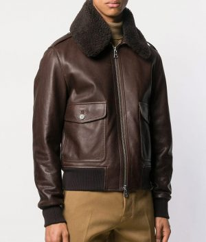 Roberge Mens Causal Shearling Fur Collar Style Brown Bomber Leather Jacket