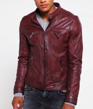 Roberto Mens Standing Collar Bordeaux Leather Jacket