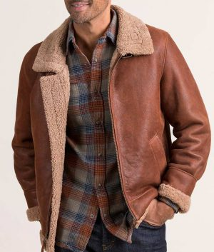 Robin Mens Casual Sheepskin B-3 Brown Leather Jacket