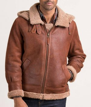 Robin Mens Sheepskin B-3 Bomber Brown Leather Jacket