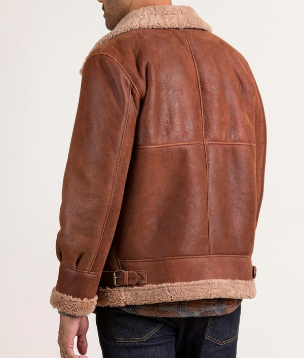 Robin Mens Casual Sheepskin B-3 Bomber Brown Leather Jacket