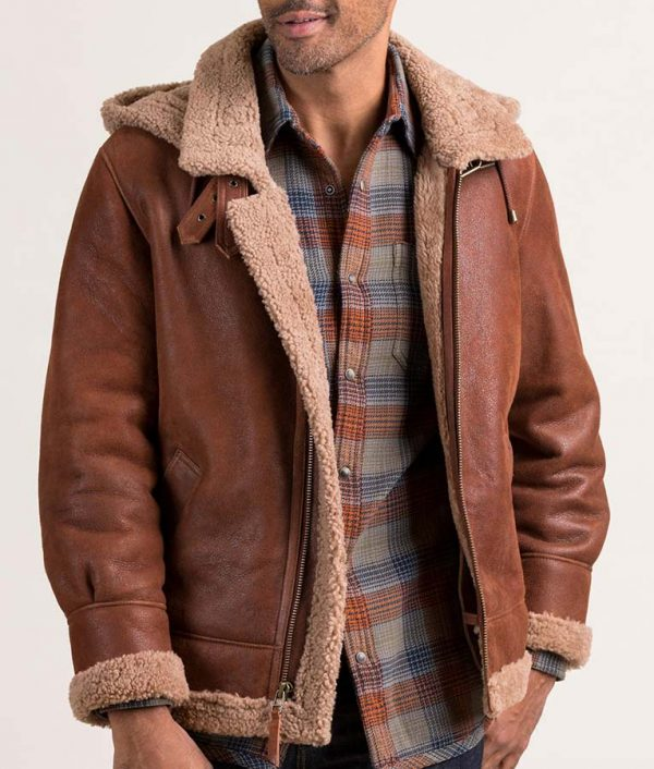Robin Mens Casual Sheepskin Brown Leather Jacket