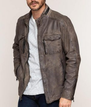 Mens Distressed Lambskin Cafe Racer Style Grey Leather Jacket