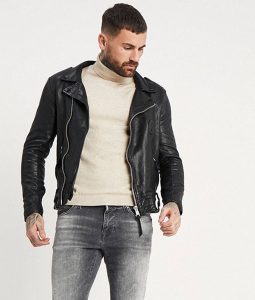 Ruiz Mens Lapel Collar Slimfit Motorcycle Leather Jacket