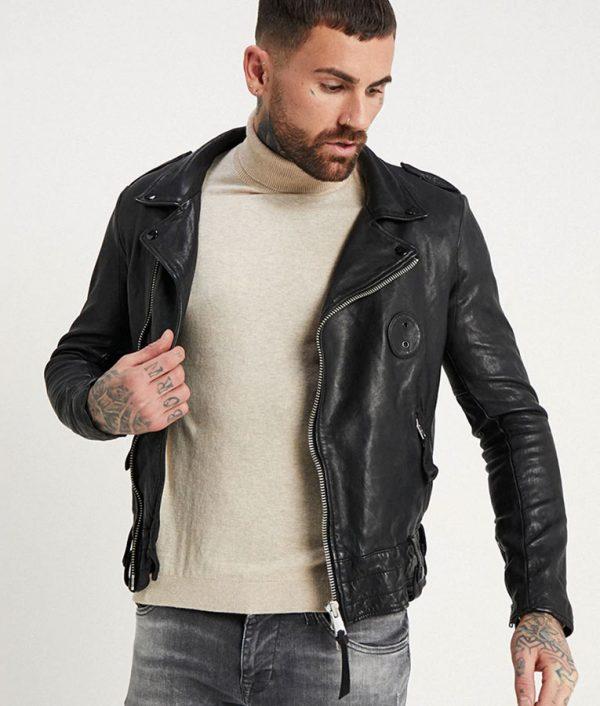Ruiz Mens Lapel Collar Slimfit Black Motorcycle Jacket