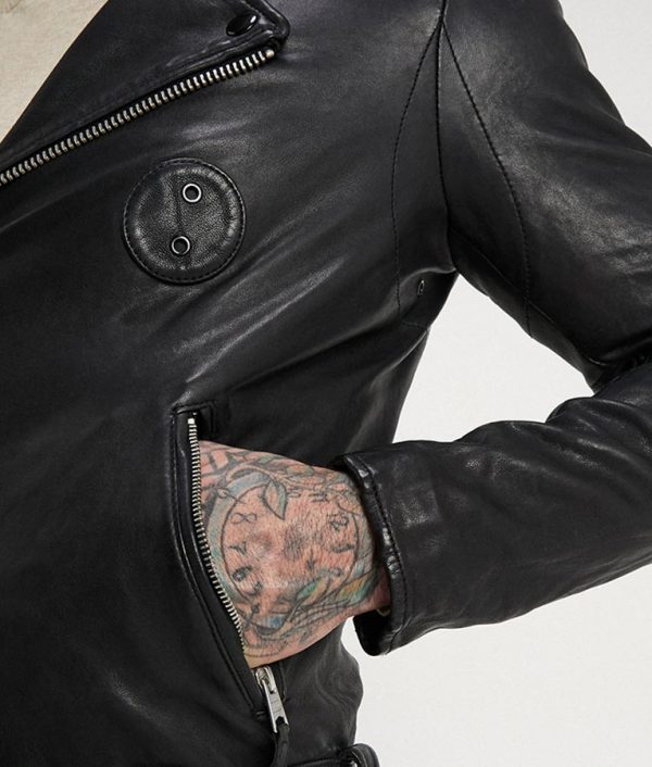 Ruiz Mens Lapel Collar Black Motorcycle Leather Jacket