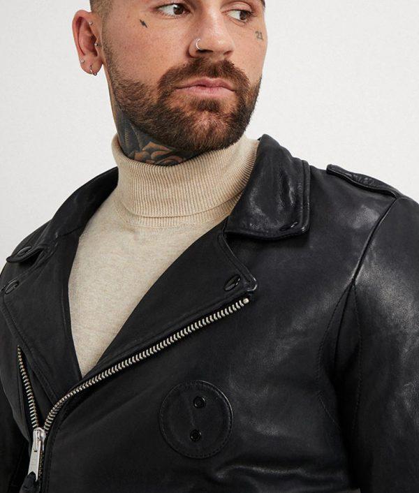 Ruiz Mens Lapel Collar Slimfit Black Motorcycle Leather Jacket