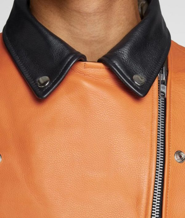 Ryan Mens Slimift Biker Style Orange Leather Jacket