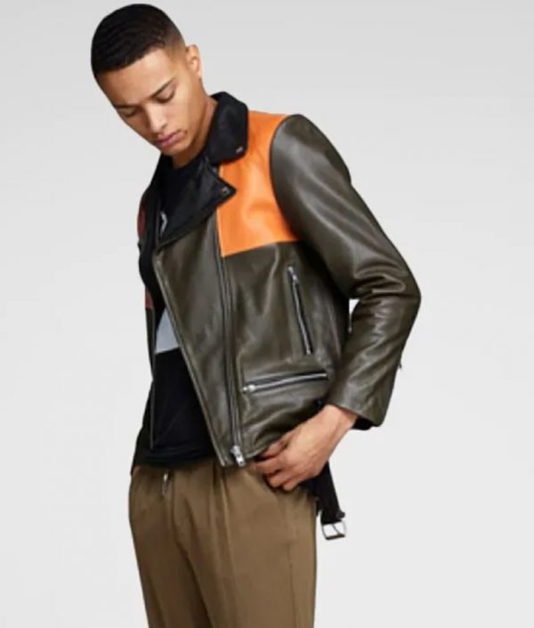 Ryan Mens Lapel Collar Biker Style Orange Leather Jacket