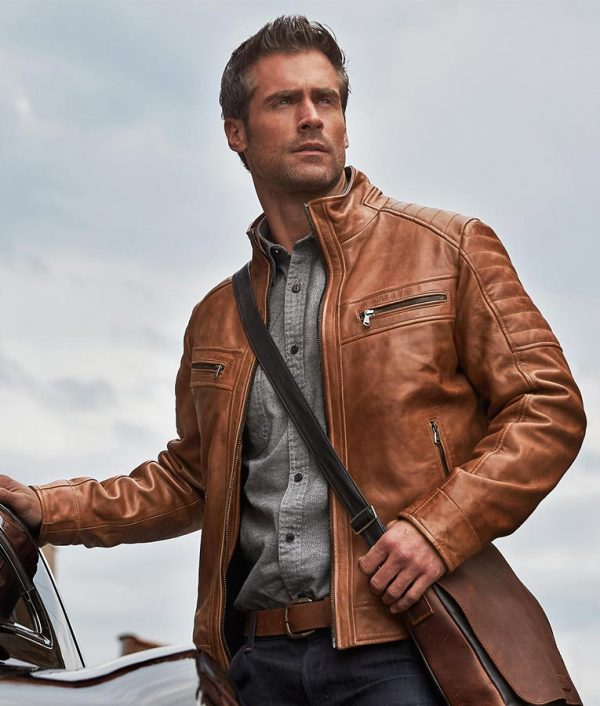 Sargent Mens Waxed Lambskin Moto Brown Jacket