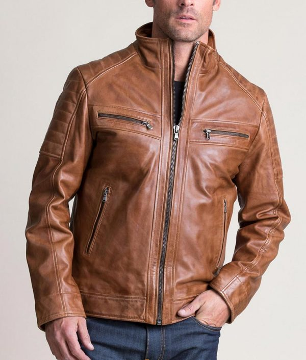 Sargent Mens Waxed Lambskin Leather Moto Brown Jacket