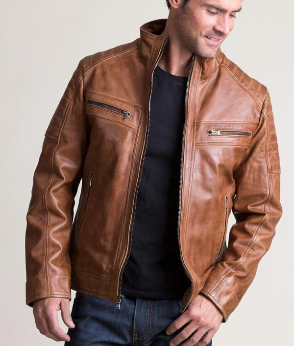 Sargent Mens Lambskin Leather Moto Brown Jacket