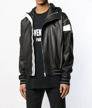 Stlouis Mens Style Black Hooded Bomber Leather Jacket