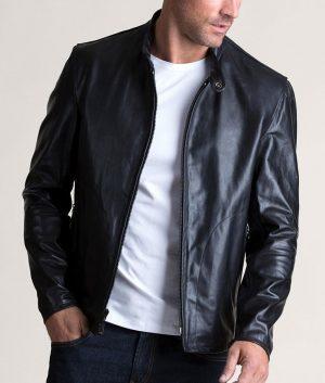 Mens Italian Leather Moto Black Cafe Racer Jacket