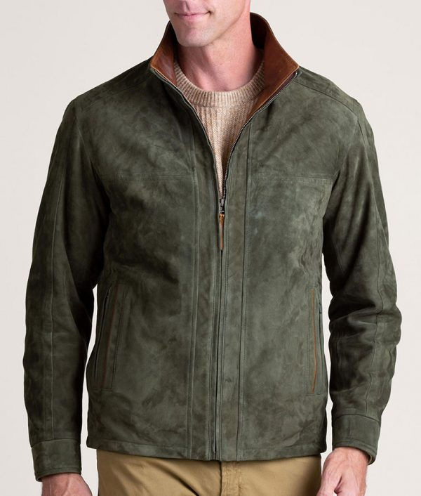 Mens Casual SAGE Lambskin Suede Leather Jacket