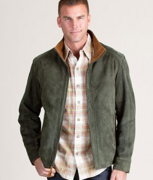 Welch Mens Casual SAGE Suede Leather Jacket