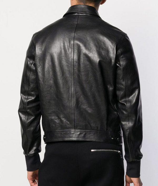Adams Mens Turn Down Collar Bomber Black Leather Jacket