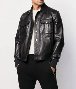 Mens Turn Down Collar Slimfit Bomber Black Leather Jacket
