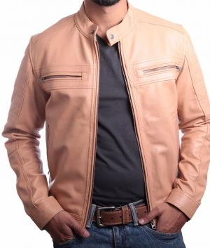 Mens Turn Down Collar Slimfit Premium Leather Jacket