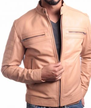 Andrews Mens Collar Slimfit Beige Premium Leather Jacket