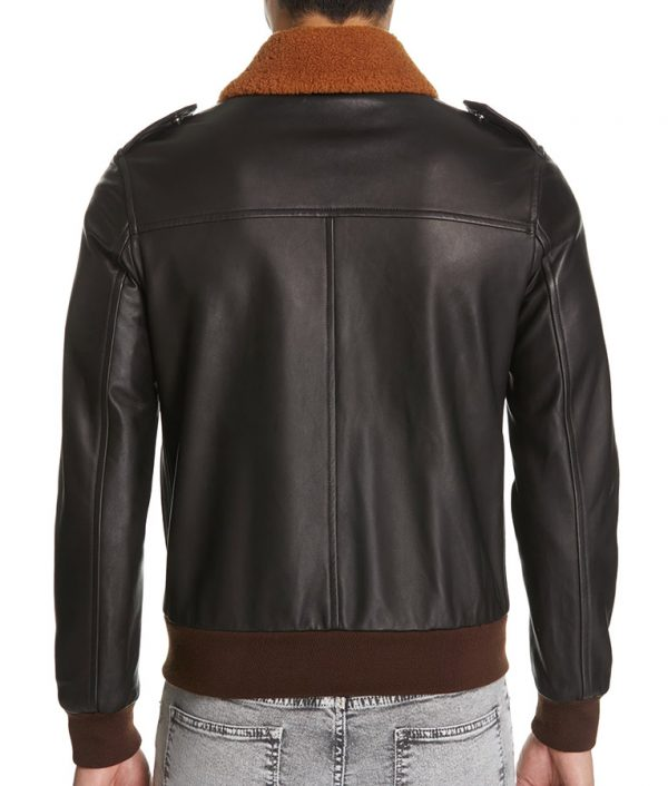 Mens Genuine Shearling Collar Brown Bomber Jacket