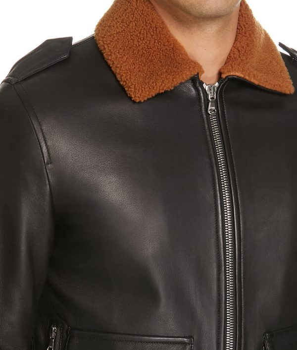 Mens Genuine Shearling Collar Leather Brown Bomber Jacket