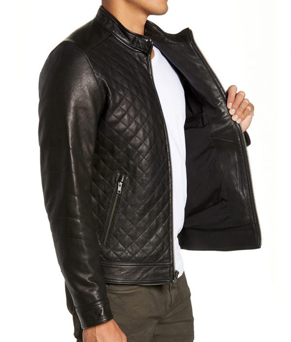 Armstrong Mens Slimfit Diamond Quilted Leather Biker Leather Jacket