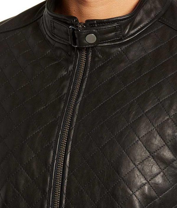 Armstrong Mens Slimfit Diamond Leather Biker Leather Jacket