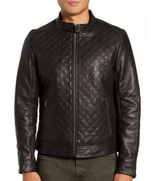 Mens Slimfit Diamond Quilted Leather Biker Leather Jacket
