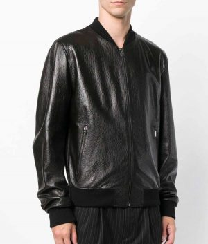 Mens Mandiran Collar Slimfit Distressed Black Bomber Leather Jacket