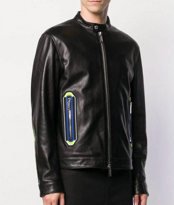 Arthur Mens Cafe Racer Biker Black Details Leather Jacket