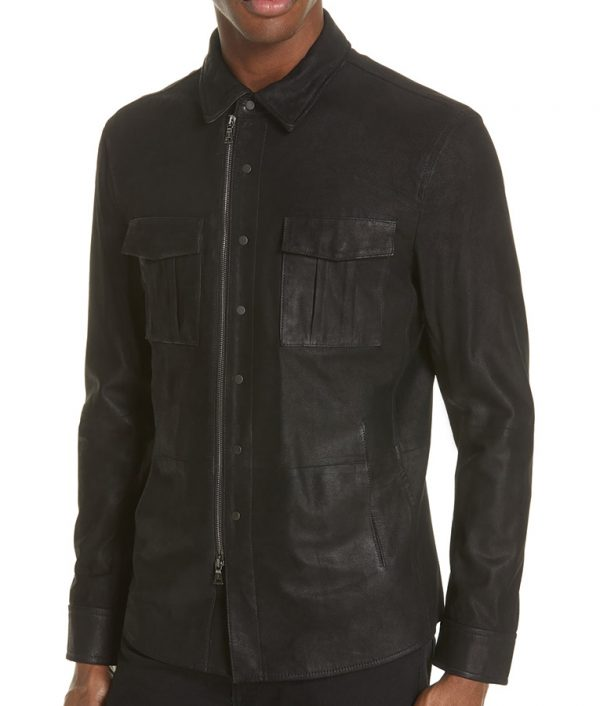 Bane Mens Turn Down Collar Casual Black Leather Jacket