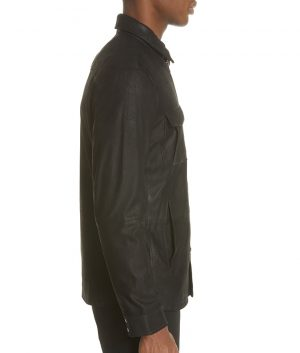 Bane Mens Turn Down Collar Slimfit Casual Black Leather Jacket