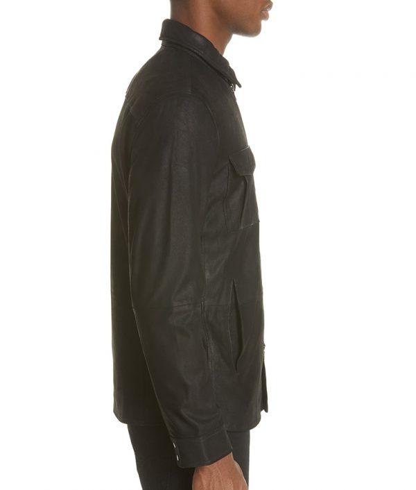 Bane Mens Turn Down Collar Slimfit Casual Black Leather Jacket