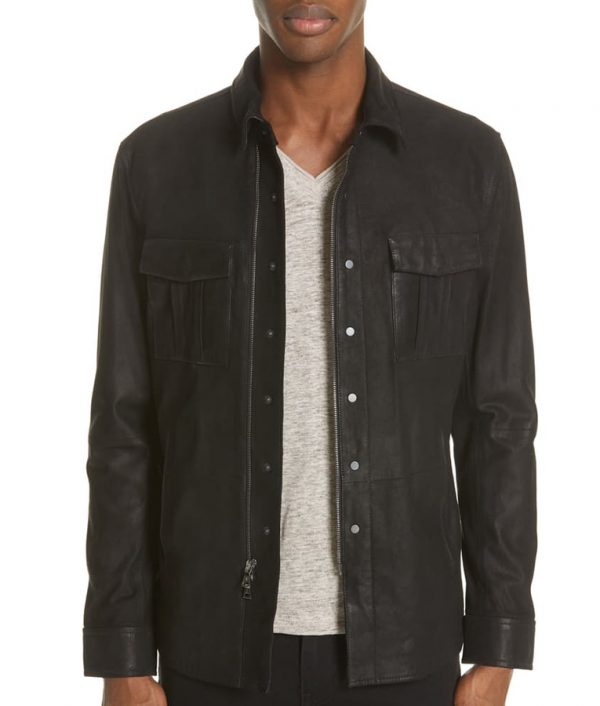 Mens Turn Down Collar Slimfit Casual Black Leather Jacket