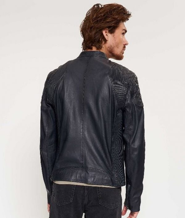 Mens Slimfit Cafe Racer Style Dark Navy Blue Leather Jacket