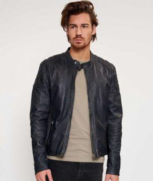 Barnes Mens Cafe Racer Style Dark Navy Blue Leather Jacket