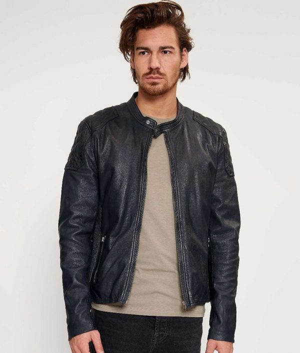 Barnes Mens Cafe Racer Style Dark Navy Blue Leather Jacket