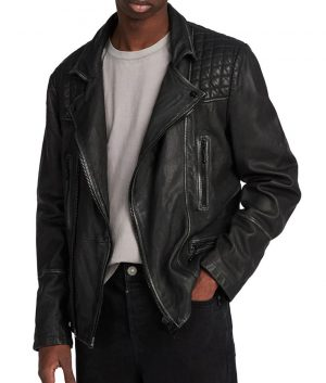 Basil Mens Turn Down Collar Padded Shoulder Slimfit Cafe Racer Jacket
