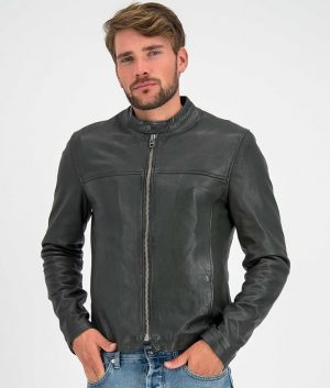 Bates Mens Round Collar Slimfit Cafe Racer Style Leather Jacket