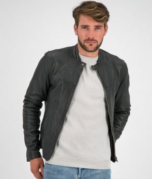 Mens Round Collar Slimfit Black Cafe Racer Style Leather Jacket