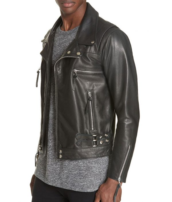 Bellomy Mens Lapel Collar Slimfit Riders Leather Jacket