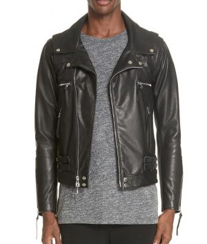 Bellomy Mens Lapel Collar Black Riders Leather Jacket