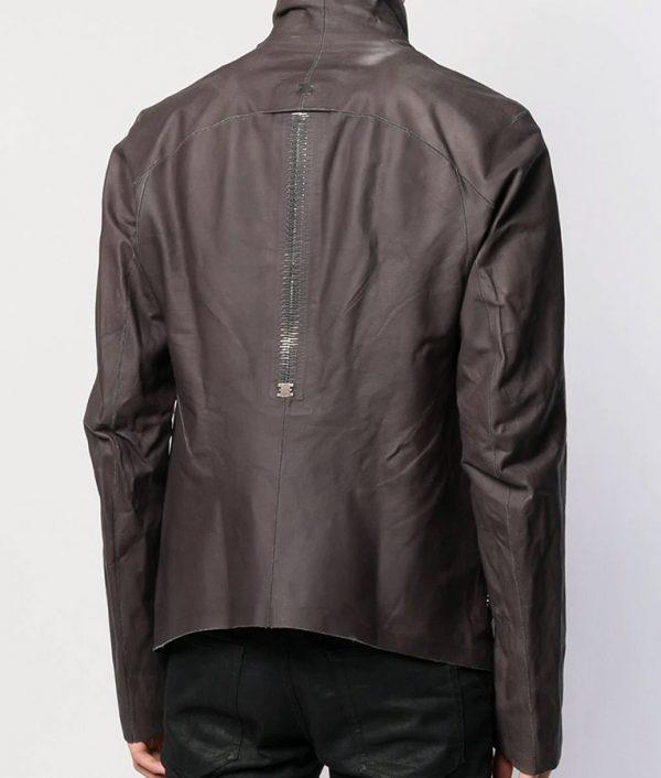 Bennett Mens Turn Down Collar Slimfit Grey Leather Jacket